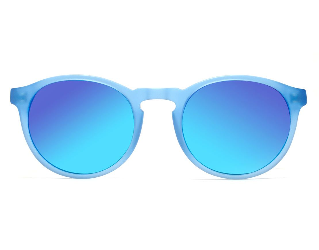 Eva Matte Blue Sun Round Sungl With Mirror Lens I Wear For All