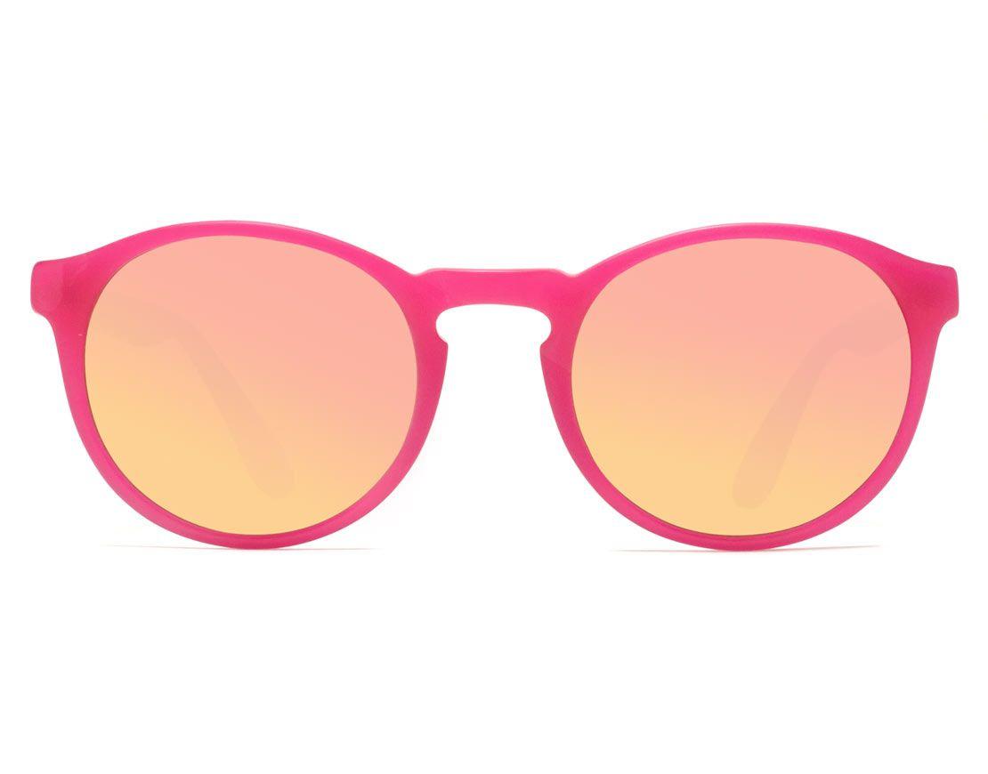 c1af43f0ba09 EVA MATTE PINK SUN - Matte pink round sunglasses with pink mirror ...